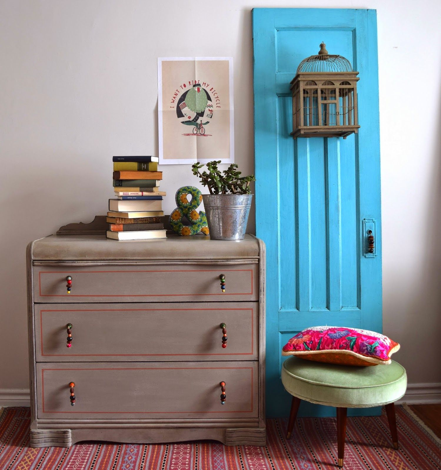 Art Deco Dresser with Beaded Pulls Painted with Annie Sloan Chalk