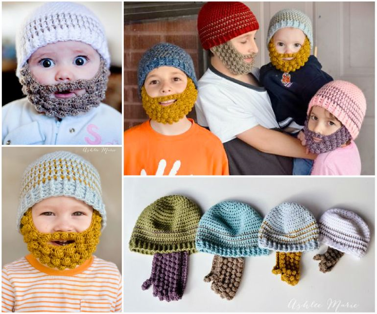 Bobble Beard Crochet Hat Pattern Easy Video Instructions #crochetedbeards