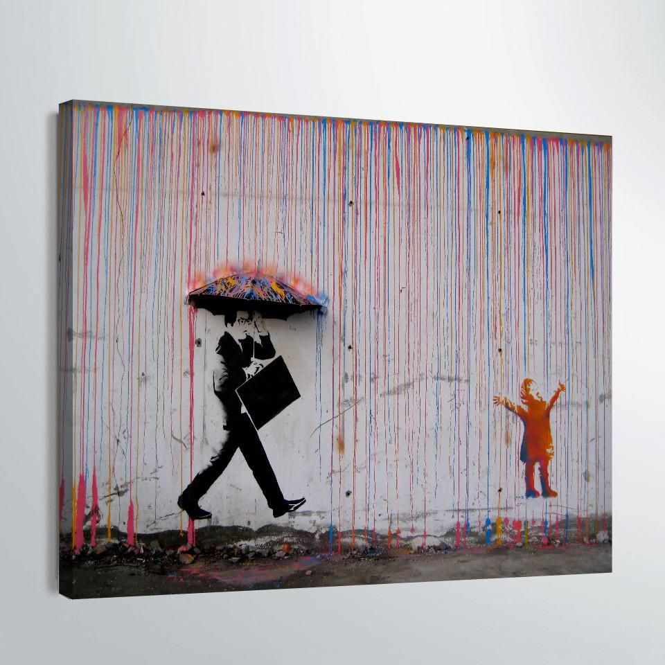 1 piece canvas art banksy graffiti art painting umbrella wall art pictures canvas pictures