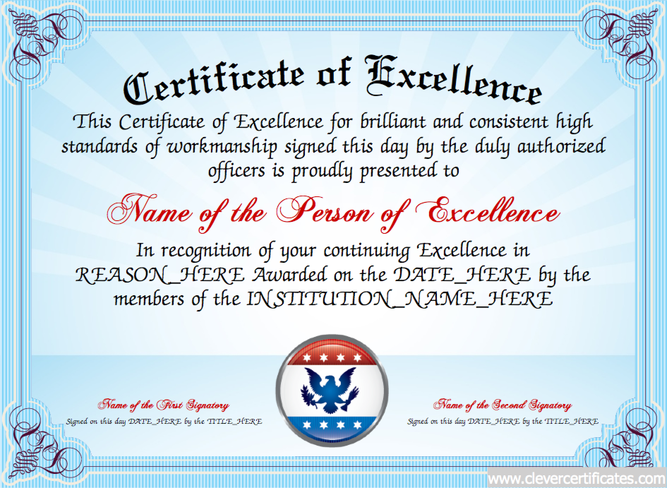Doc1040729 Award of Excellence Certificate Template Formal – Certificate of Excellence Wording