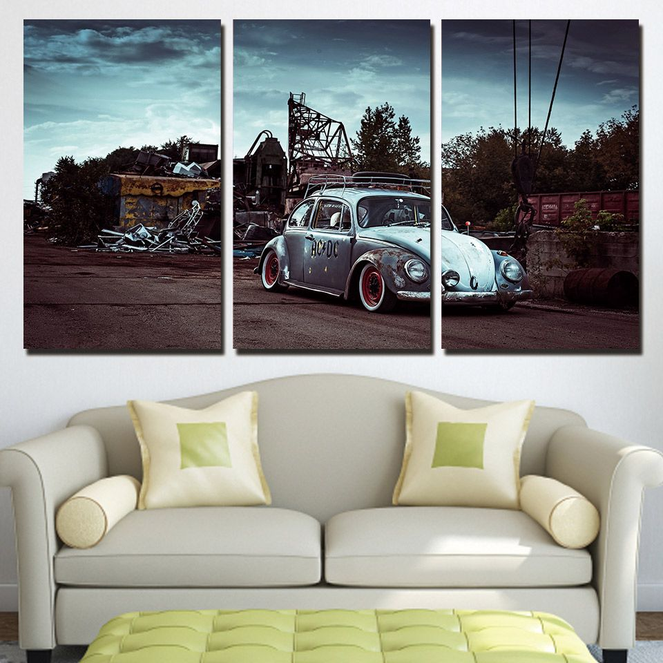 3 Panels Canvas Art Classic Car Beetle Home Decoration Wall Art Painting Canvas Prints Pictures For Living R Customized Canvas Art Canvas Wall Art Set Wall Art