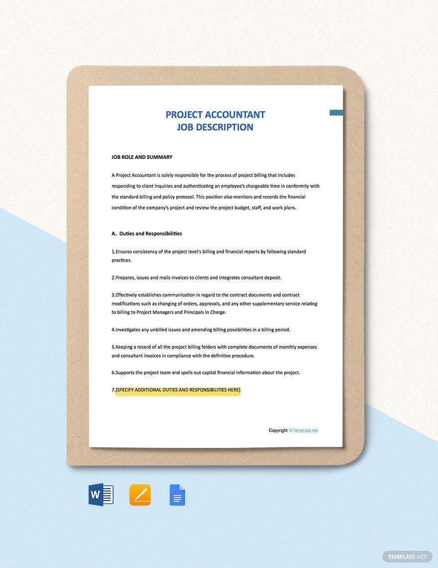 Free project accountant job description template ad
