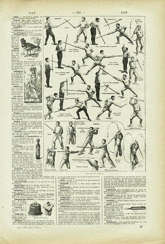 1922 Gravure Vintage Canne Et Baton Gravure De Sport De Combat Etsy Martial Art Gifts Martial Arts Sports Prints