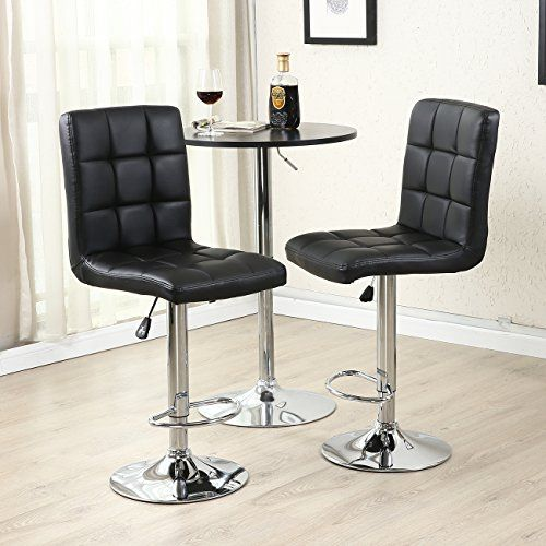 Astounding Belleze Swivel Leather Adjustable Hydraulic Bar Stool Set Machost Co Dining Chair Design Ideas Machostcouk