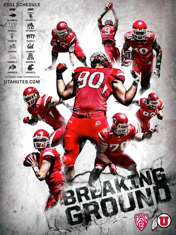 2011 Utah Utes Schedule poster Sports graphic design