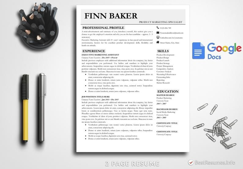 modern resume template google docs resume template instant
