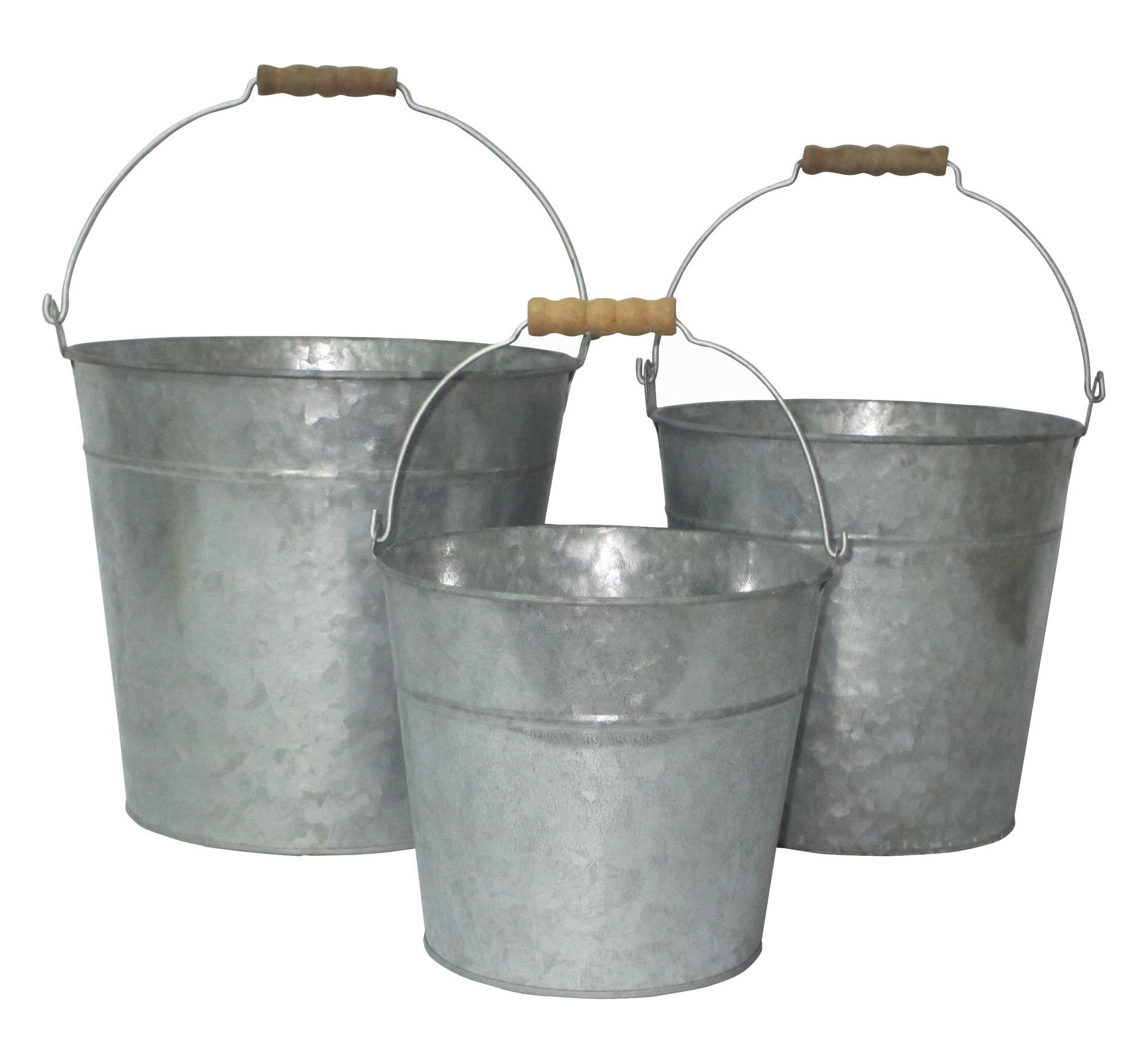 Cheungs 3 Piece Galvanized Bucket Set Metal Bucket Galvanized Metal Galvanized Buckets