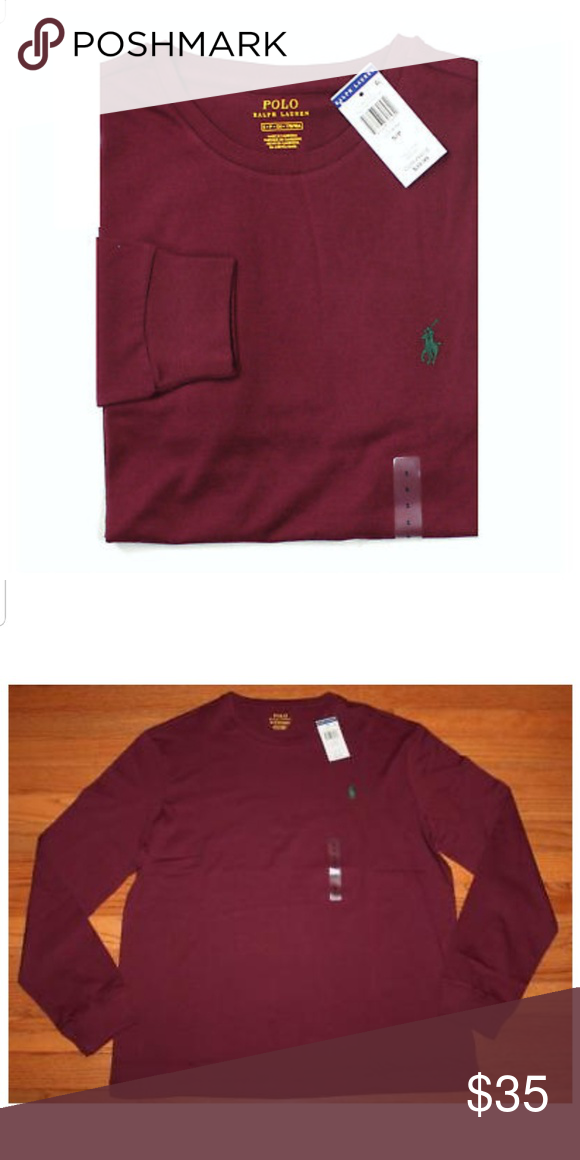 da819fe13 Polo Ralph Lauren long sleeve t-shirts Men's burgundy long sleeve crew neck  t-shirt with dark green pony.. 100% cotton Check out my closet for limited  ...