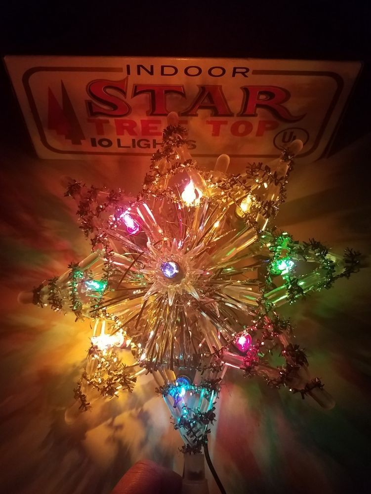 Working Christmas LIGHTED Star vintage tree top indoor display ...