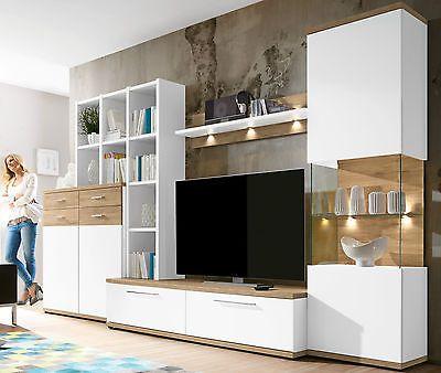 Entzuckend Details Zu Domina Caris Moderne Wohnwand Weiß / Sanremo Eiche Selbst  Zusammenstellen