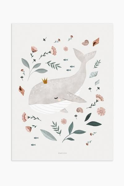 Art Print Illustration - Baby whale Hand sketched & digitally colored original illustration.Print on high quality paper, with smooth texture. Print is avail