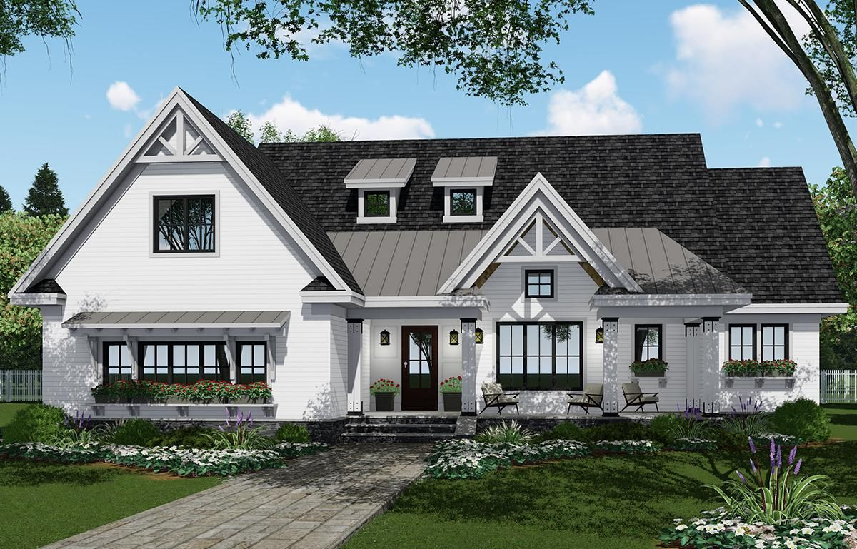 Check out plan 098 00308 a 2751 sq ft modern farmhouse house plan with 4 bedrooms 3 5 bathrooms a loft open floor plan and a vaulted master bedroom
