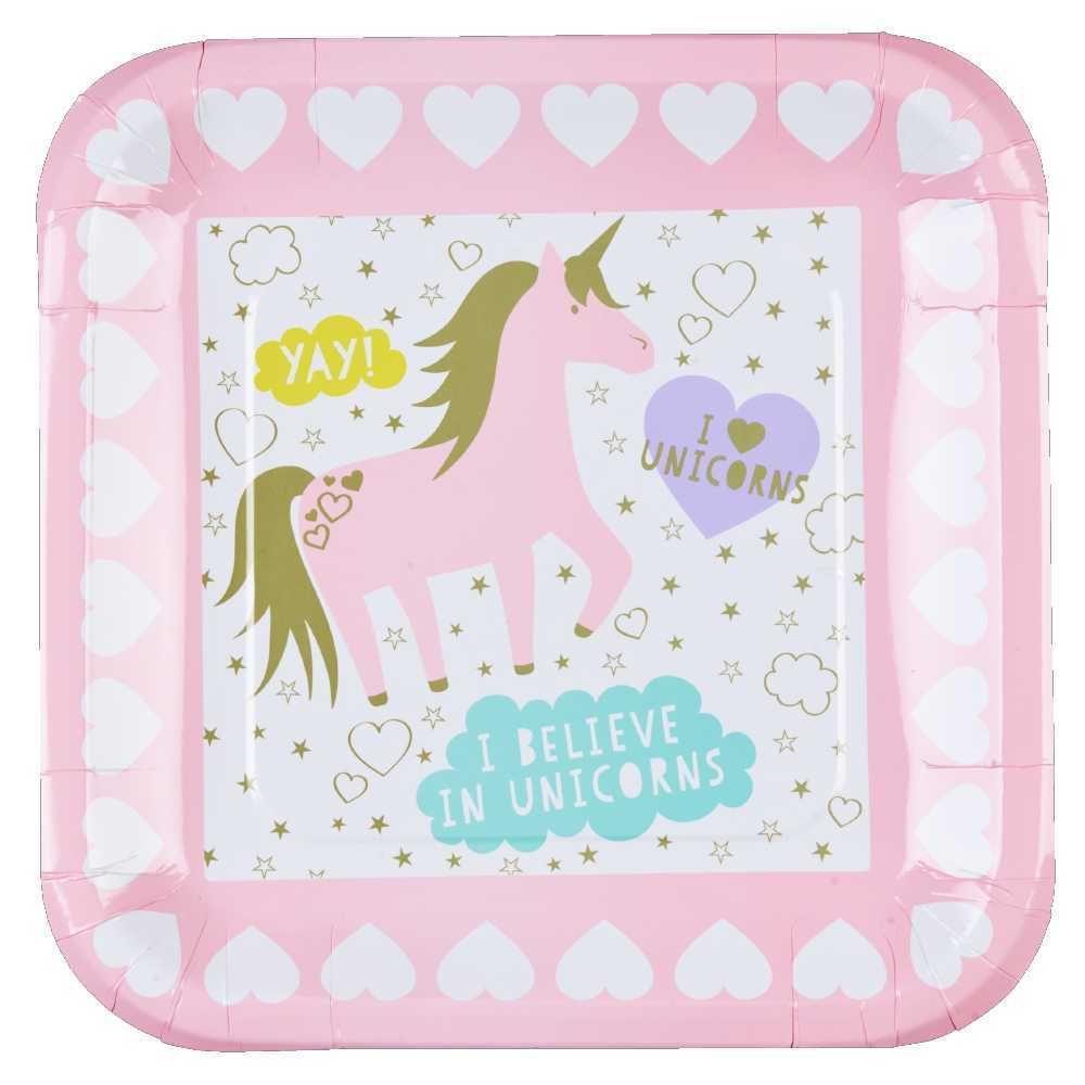 Unicorn Square Paper Plate Multicoloured 23 cm $3.19  sc 1 st  Pinterest & Unicorn Square Paper Plate Multicoloured 23 cm $3.19 | Unicorn Magic ...