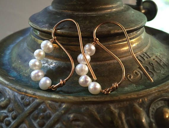 Large Copper Tone Pendant and Earrings with Freshwater Pearls