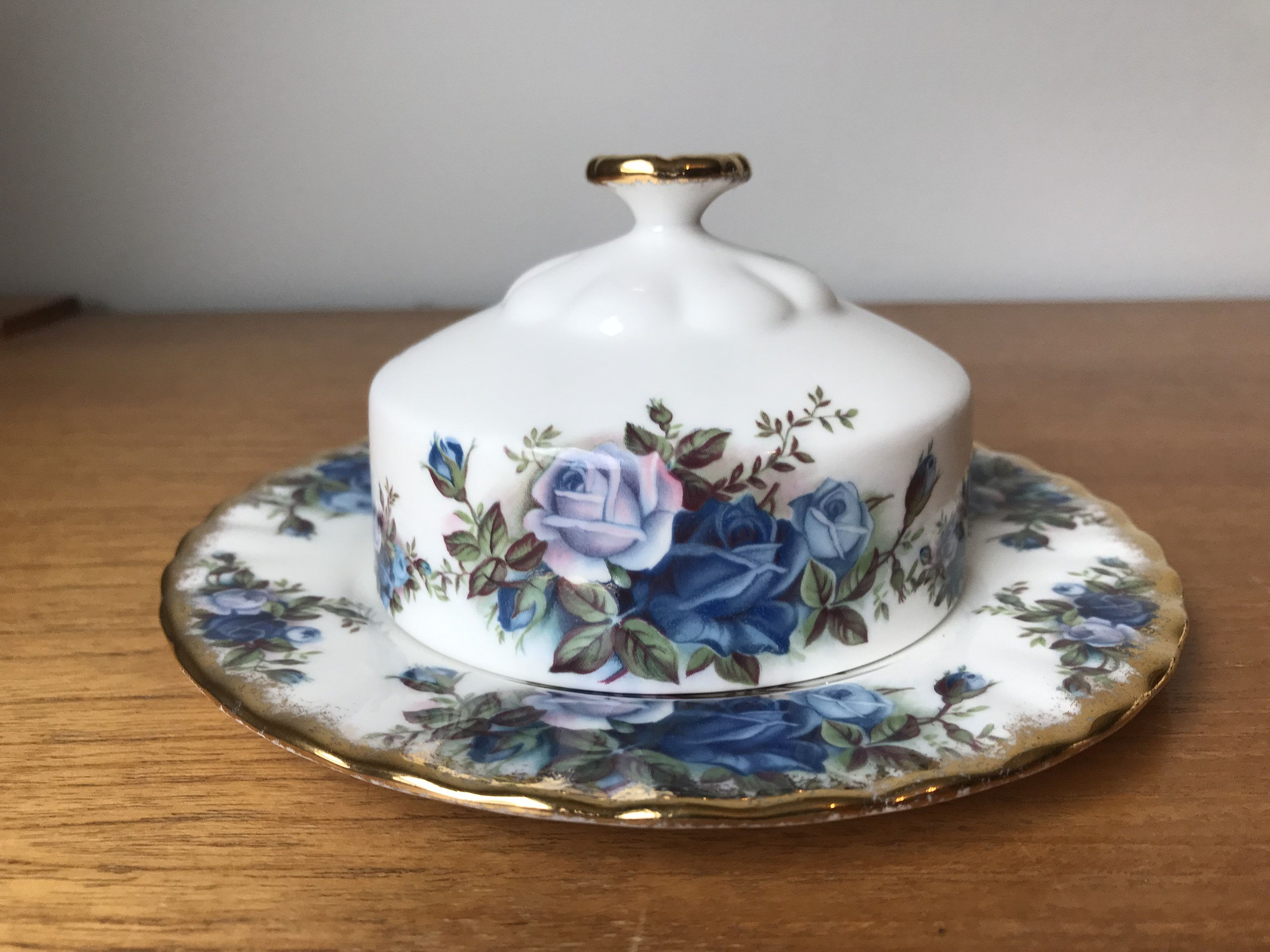 Royal Albert Butter Dish Moonlight Rose Butter Cover With Plate Blue Roses Bone China Royal Albert China Royal Albert Cream And Sugar