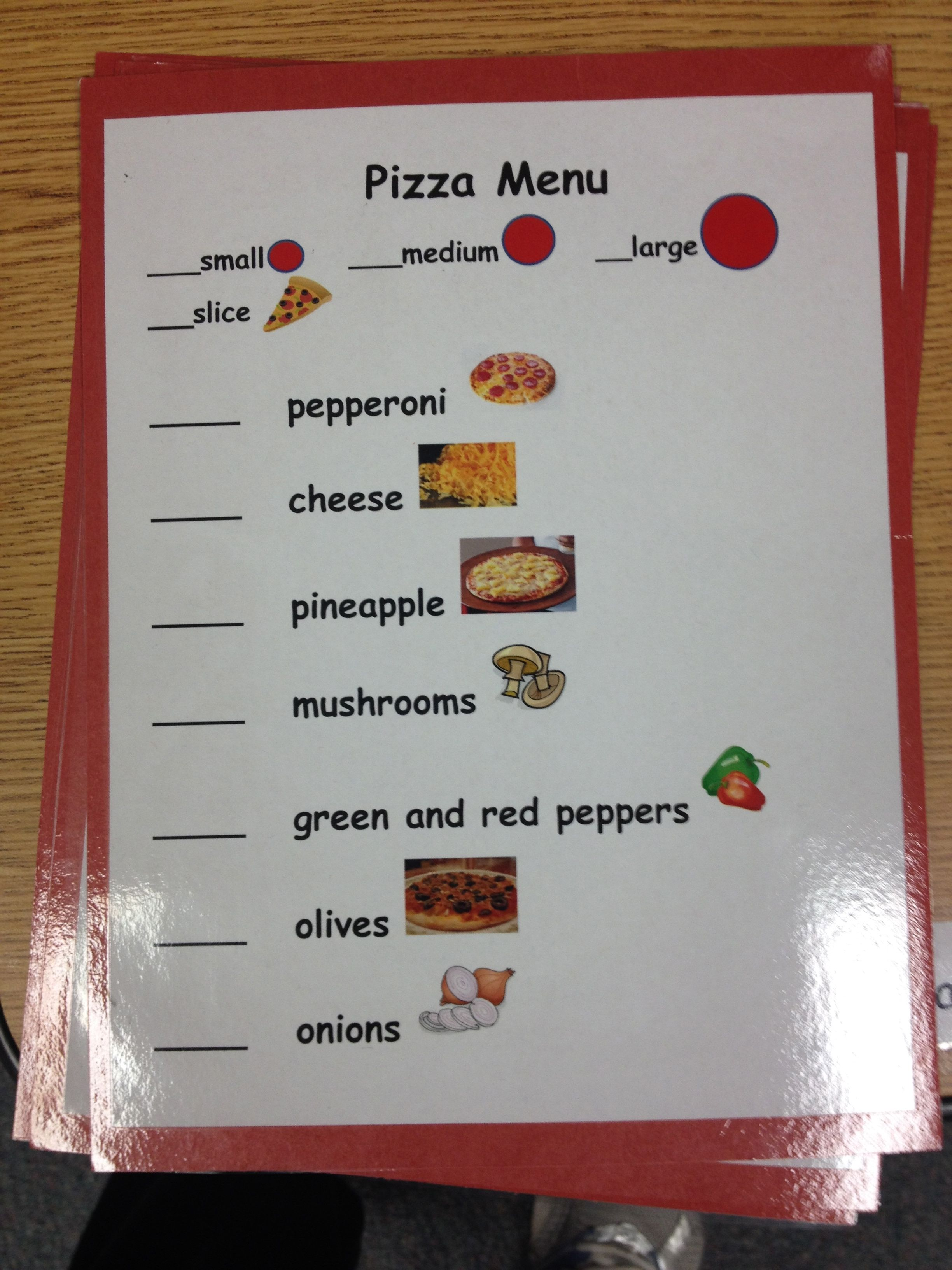 Here Is The Menu I Created For Ordering Their Pizza  I Laminated The Sheet So They Can Use A Dry