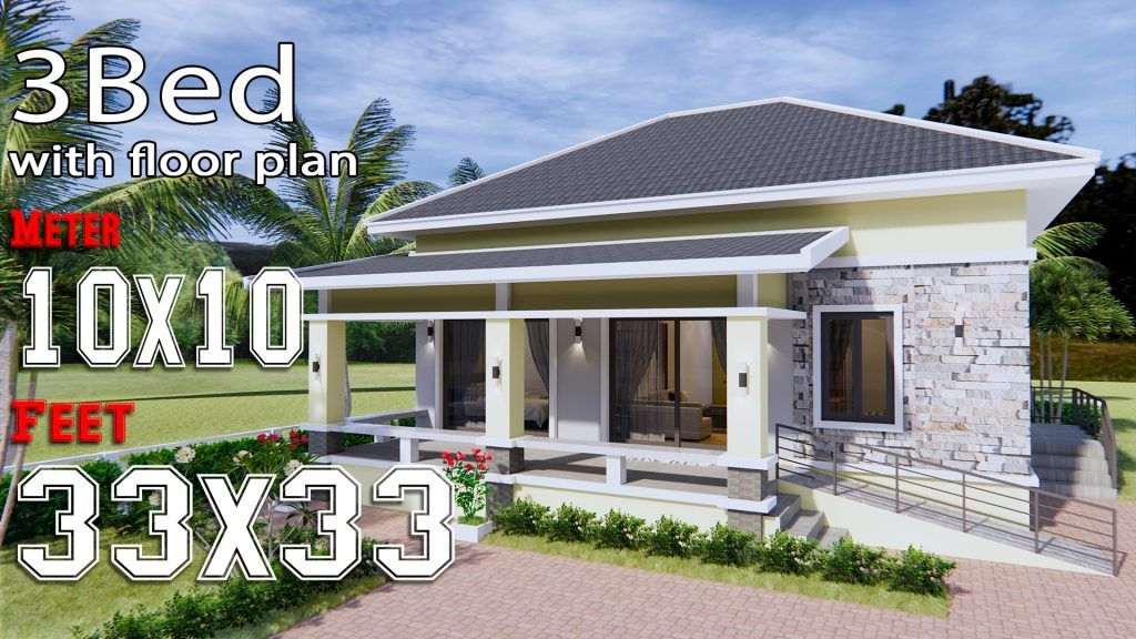 House Design 10x12 With 3 Bedrooms Terrace Roof House Plans 3d In 2020 Small House Design Plans Bungalow Style House Plans Small House Design