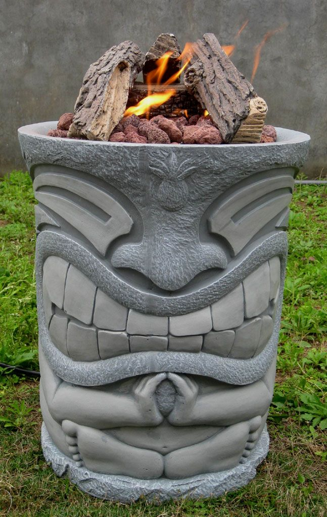 New Outdoor Patio Fire Pit Backyard Gas Heater Bbq Tiki Pole Statue Style Tiki Pole Tiki Decor Tiki Room