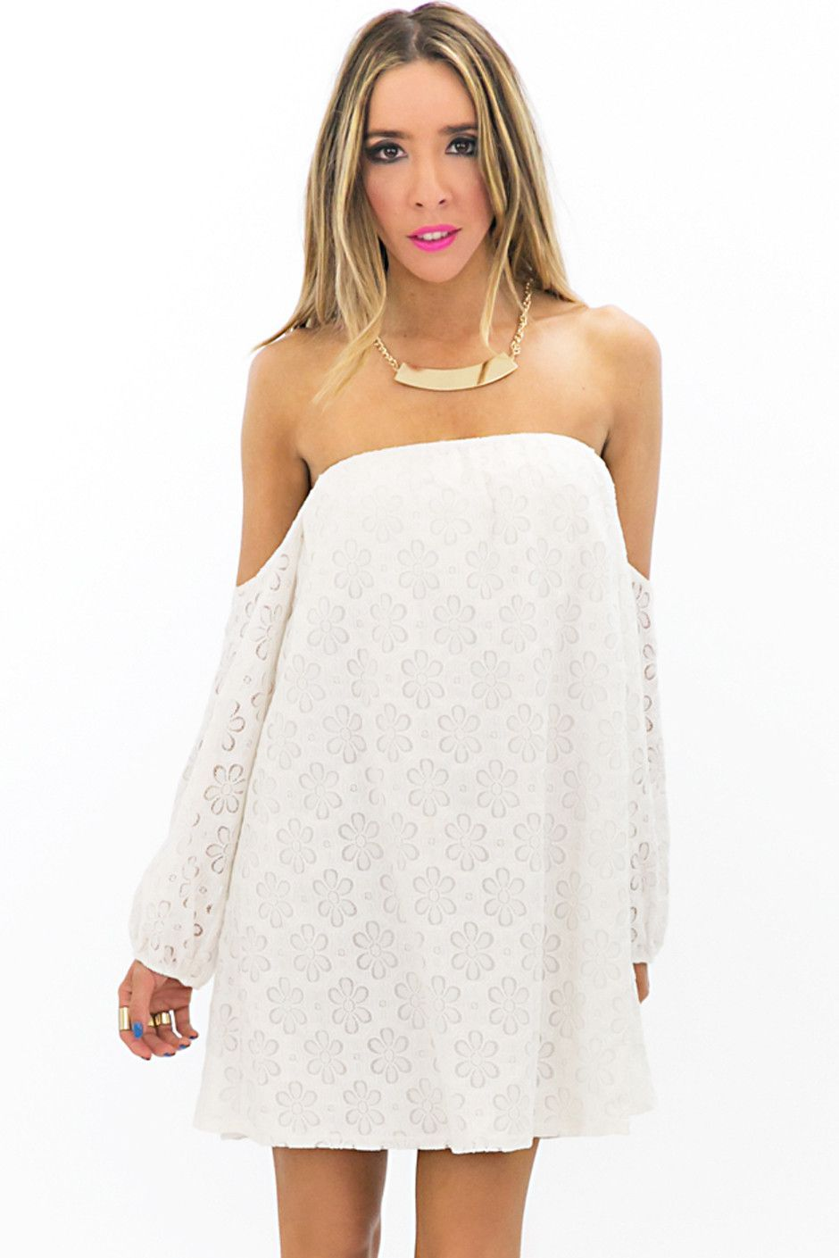 White Off the shoulder bell sleeve dress