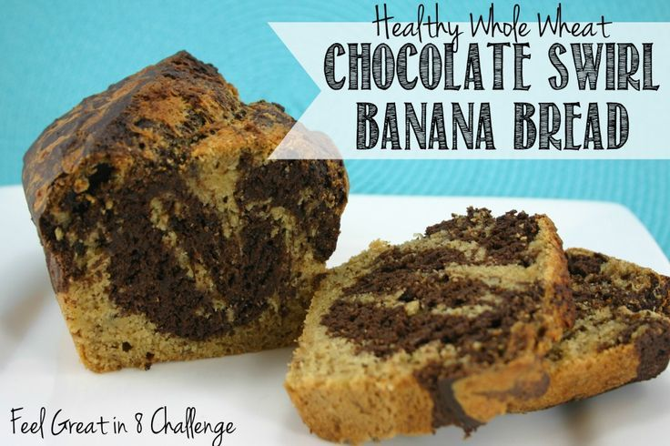 Healthy Whole Wheat Chocolate Swirl Banana Bread - Made with greek yogurt, flaxseeds, and heart healthy coconut oil! | Feel Great in 8 #healthy #recipe #bread