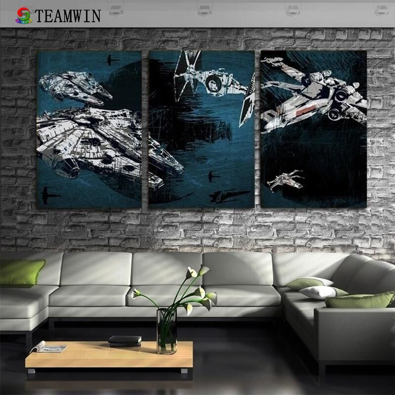 2018 Wall Art Hd Print On Canvas Star Wars Battleship Millennium Falcon No Framed 16x24inch 3pcs Size 60cm 120cm Wish Star Wars Wall Art Oil Painting Pictures Wall Canvas