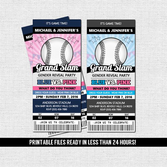 GENDER REVEAL PARTY - Baseball Ticket Invitation (Printable Files - ticket invitation
