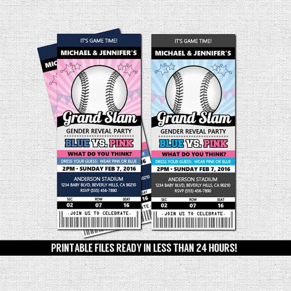 Gender Reveal Party Baseball Ticket Invitation Printable