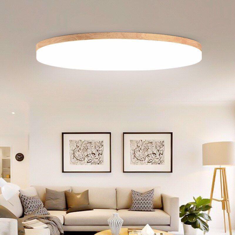 Moderne Einfache 5cm Ultra Dunne Led Decke Lichter Eiche Holz
