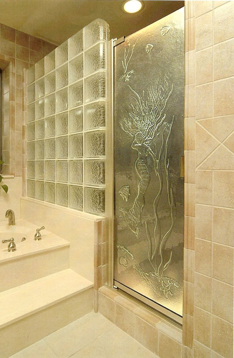 Framed Shower Doors with Glass Wall...really like the glass block ...