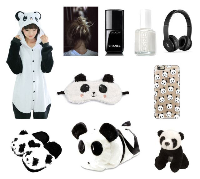 """""""Panda Party! (Sleepover)"""" by crazycaty11 ❤ liked on Polyvore featuring Betsey Johnson, Itsy Bitsy, P.J. Salvage, Homewear, Chanel, Essie, Beats by Dr. Dre and Casetify"""