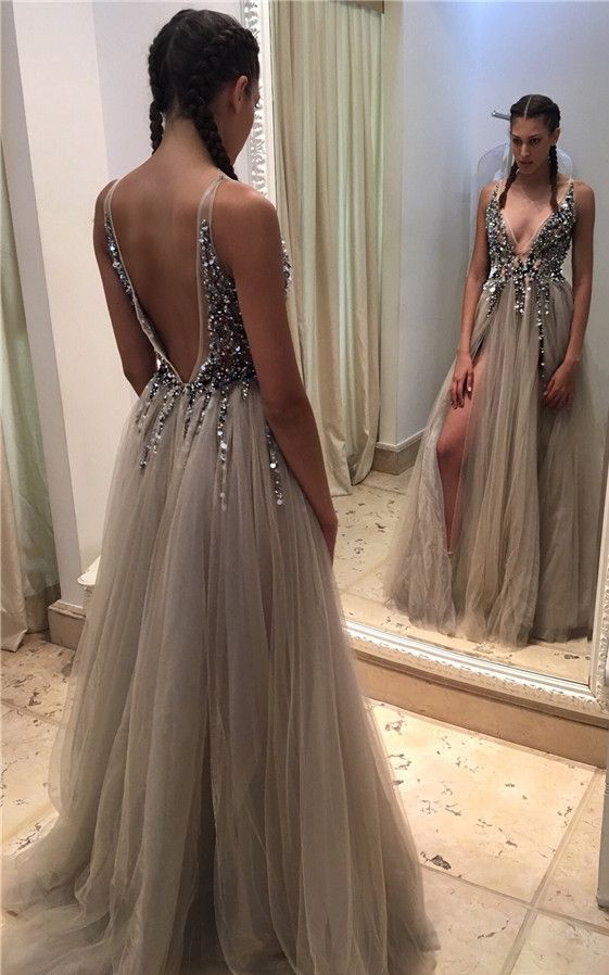 Luxury Crystals Prom Dresses Side Slits Deep V Neck Long Evening