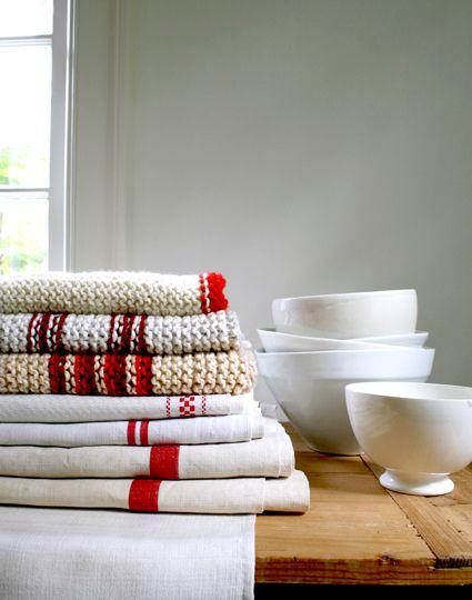 knit dishcloth and dishtowel ~