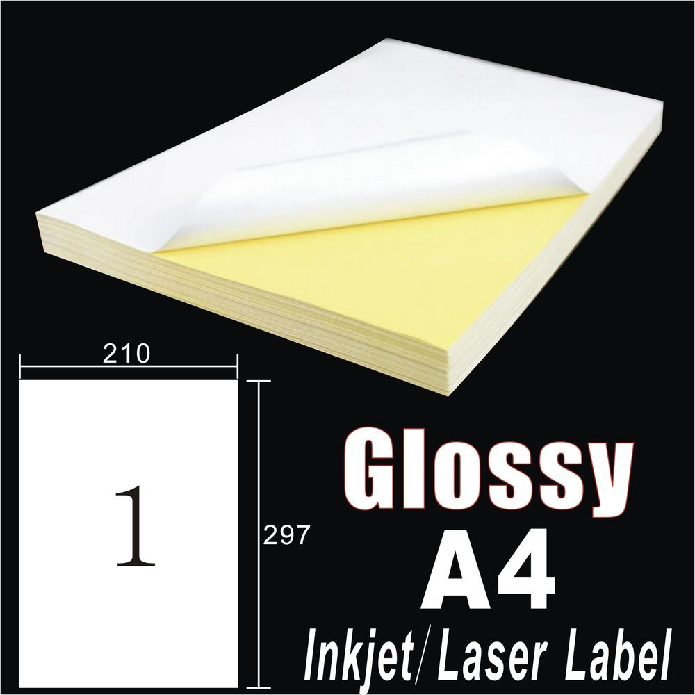 30x A4 White Glossy Self Adhesive Sticker Paper Sheet Label Laser