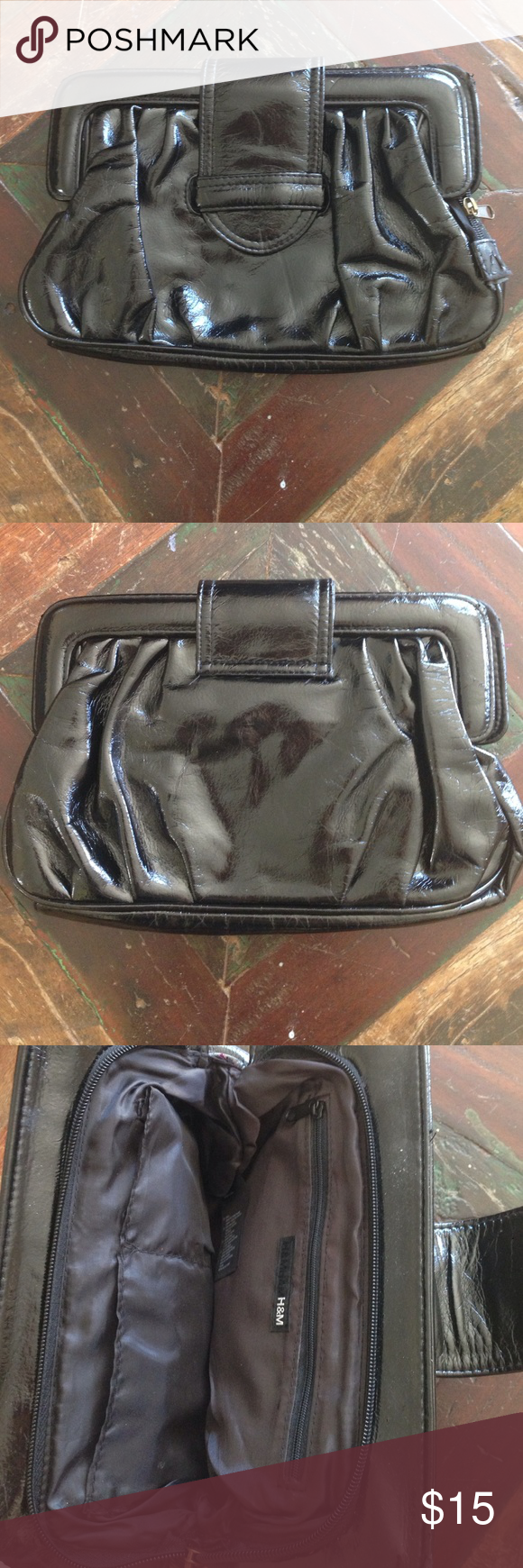 "H&M Black Clutch H&M black clutch, 12"" x 7.5"". Beautiful condition (minor wear). H&M Bags Clutches & Wristlets"