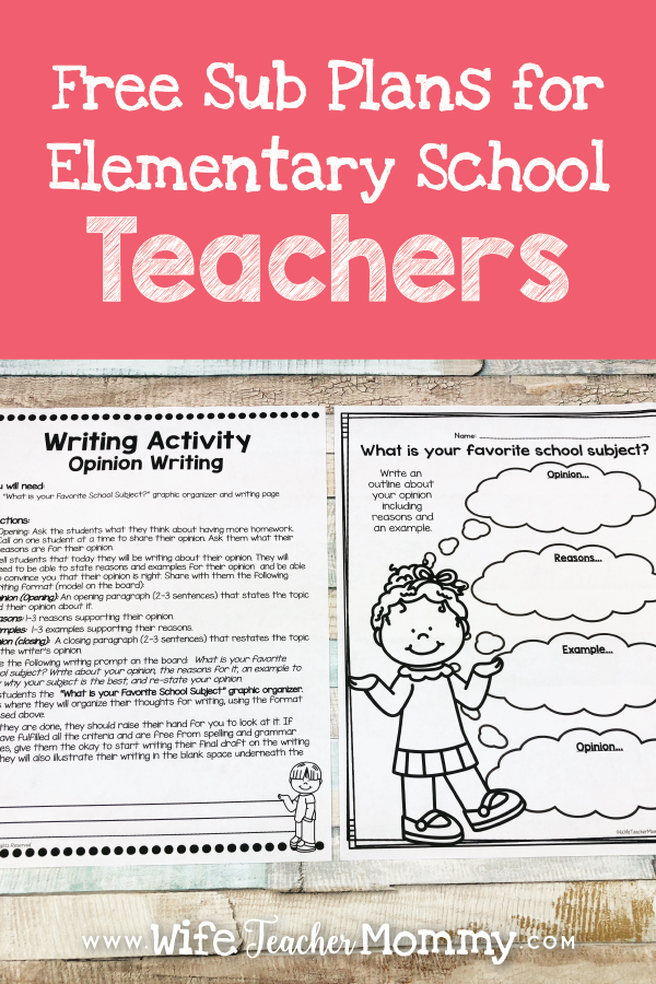 Free Sub Plans for Elementary School Teachers
