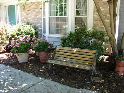 bench in front yard. yard benches