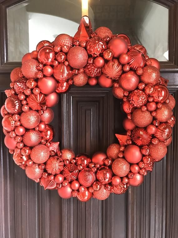 Gorgeous Red Shatterproof Ornament Christmas Wreath! Bauble Wreath! Holiday Decor! The most detailed wreath you will ever find!