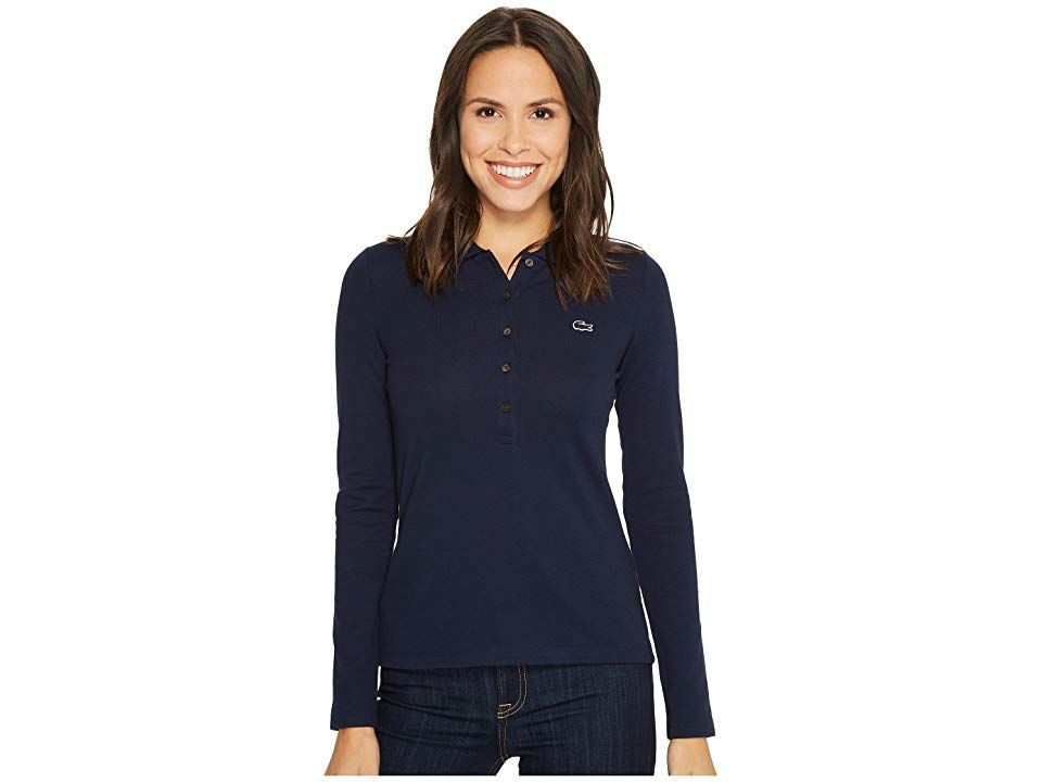 605a14fd051df Lacoste Long Sleeve Pique Polo (Navy Blue) Women s Clothing. A Lacoste polo  is