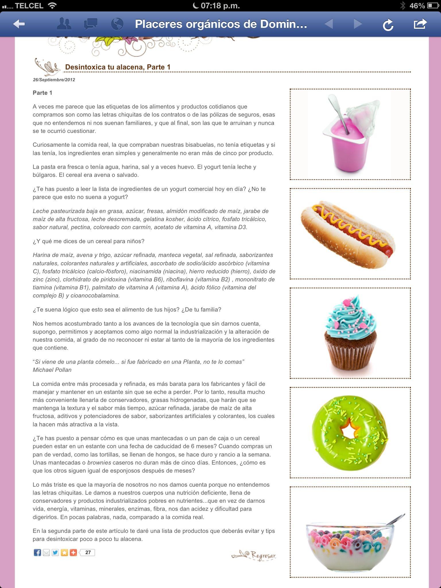Sustancias que debemos evitar en alimentos