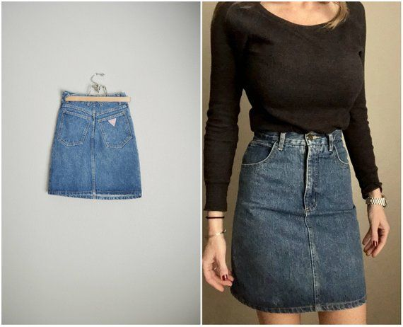 41a48c566c31c vintage 80s 90s USA made GUESS denim jean mini skirt high waisted -- xsmall  -- 24