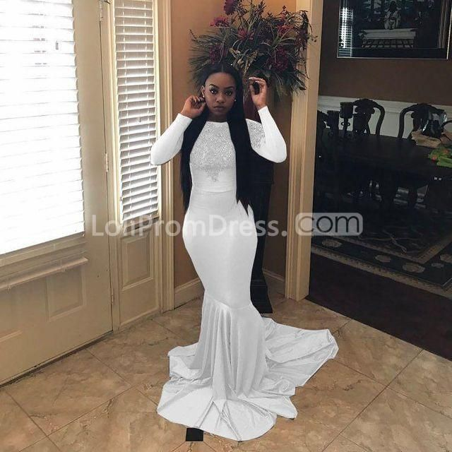 0e18992485a 49%OFF Grey Long Prom Dresses 2019 Mermaid Long Sleeves Plus Size African  Sexy – lolipromdress.com