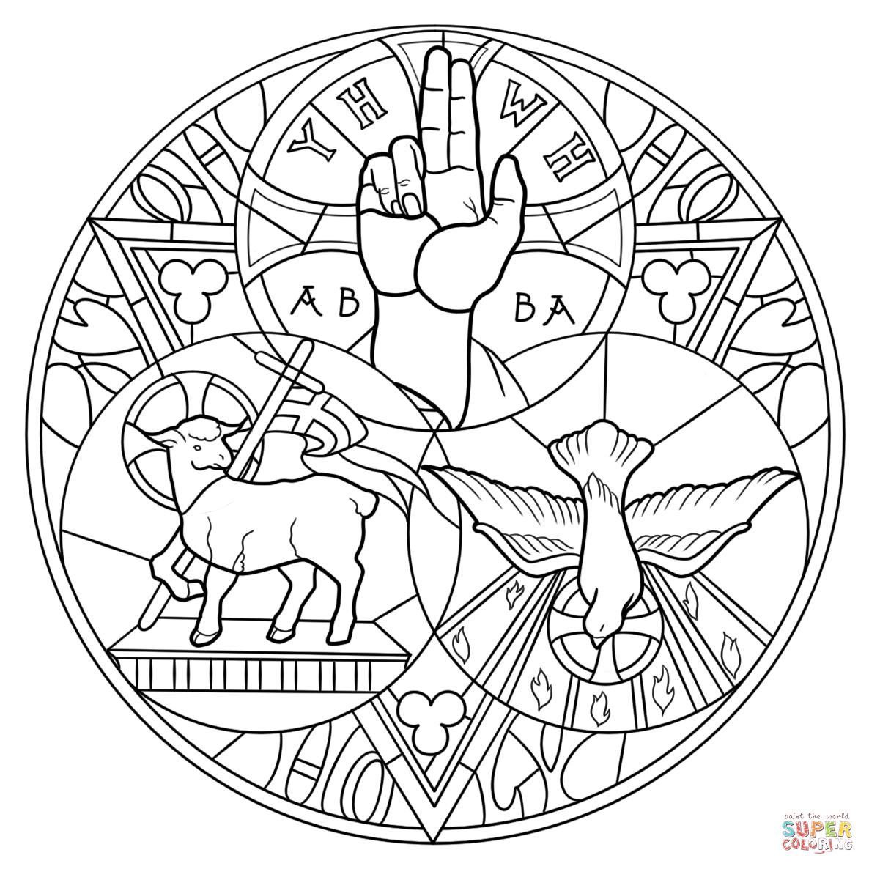 Santíssima Trindade Dibujo para colorear. Categorías: Vitral ...