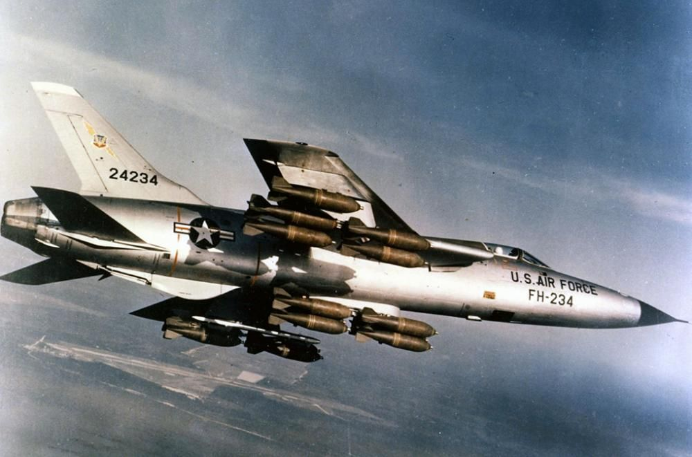 """Thud"" designed with 1 purpose in mind-single pilot flying low level Mach 1 delivering a nuclear weapon.In 1955,mission a game changer,but within few years,mission changed considerably.During Vietnam War, Rrpublic F-105 made name for itself in Wild Weasel ops-as 2-seater identifying & suppressing anti-aircraft installations.Carried heavier bomb load than any 4-engine bomber of WWII,yet still exceeded twice speed of sound at altitude.833 F-105s built,& flew over 20,000 combat missions in…"