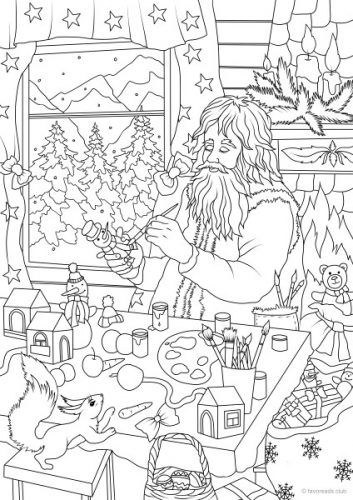 santas workshop colouring page