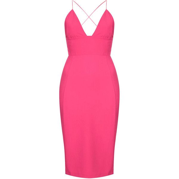 **Pink Cross Over Strap Midi Dress by Rare (£20) ❤ liked on Polyvore featuring dresses, pink, strappy midi dress, pink cocktail dress, calf length dresses, midi cocktail dress and surplice dress