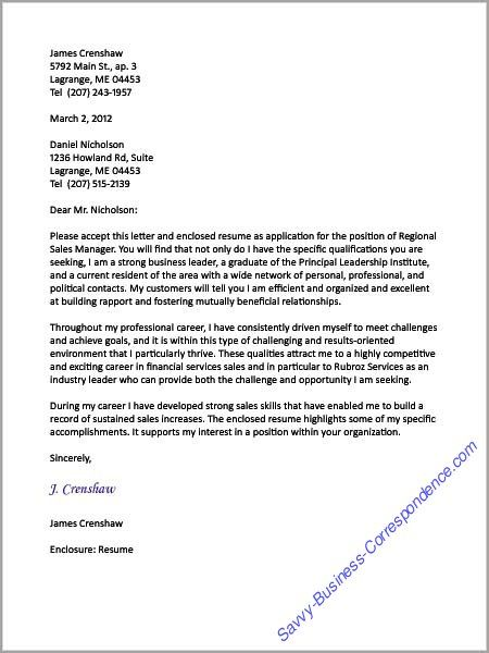 A Cover Letter Sample From DixieS Collection  Business Letters