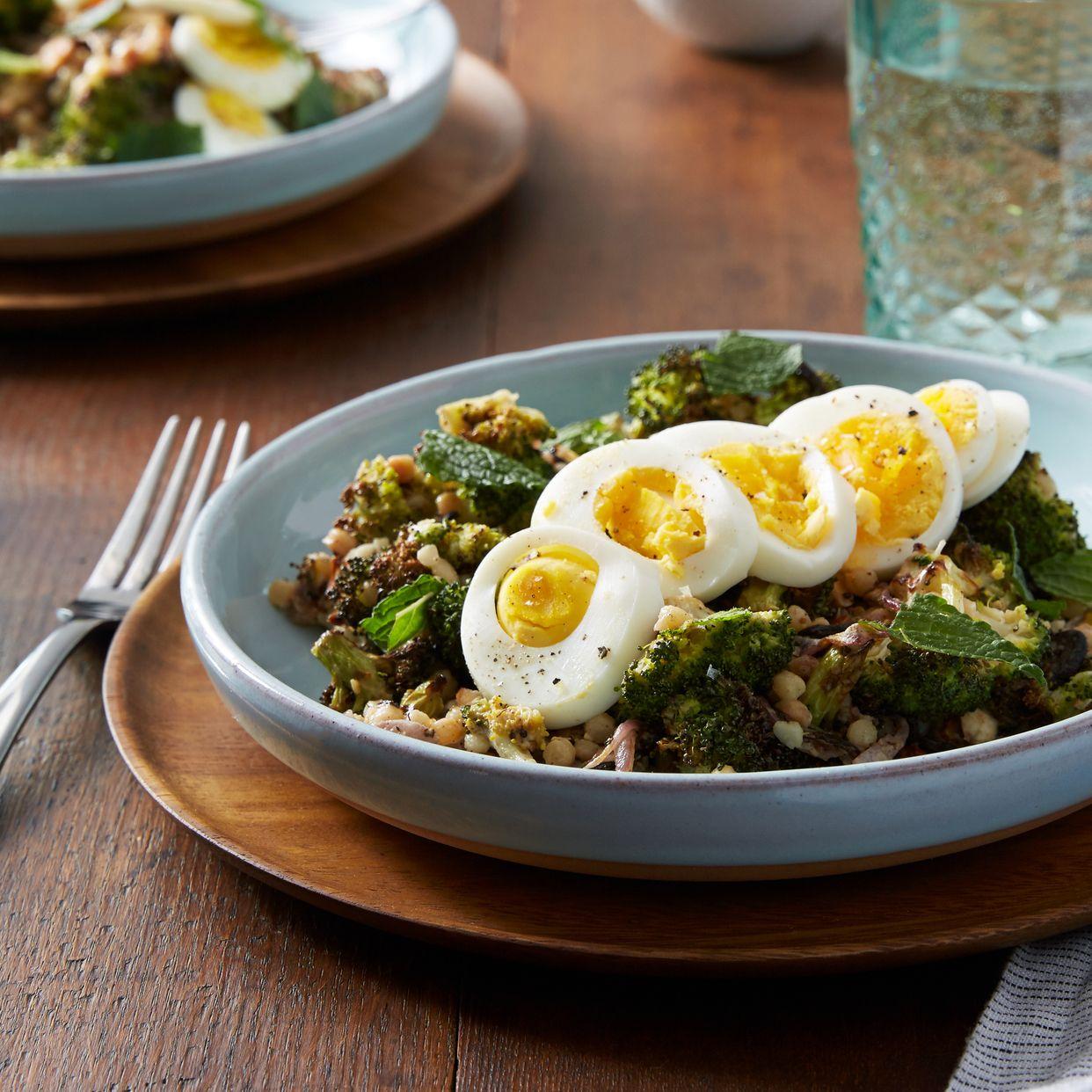 Za'atar-Roasted Broccoli Salad with Fregola Sarda, Pecorino Cheese & Tahini Dressing