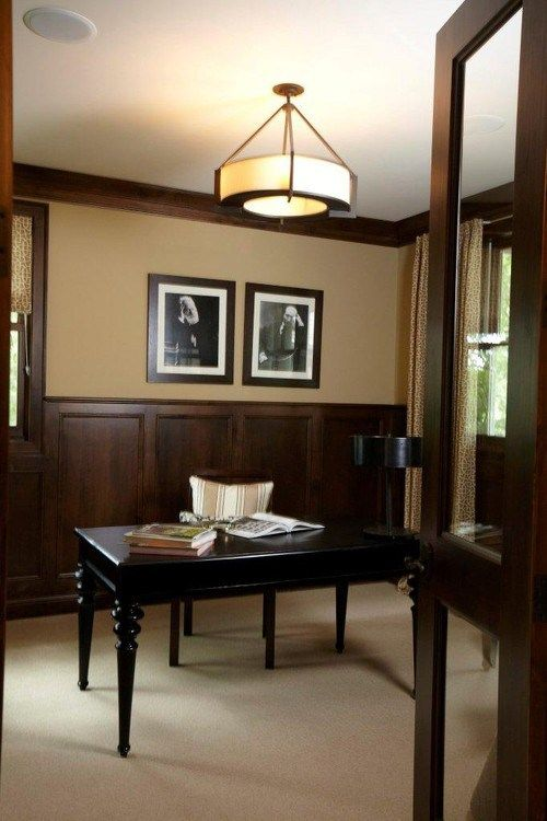 The 7 Best Neutral Paint Colours To Update Dark Wood Trim Dark Wood Trim Dining Room Wainscoting Painted Wainscoting