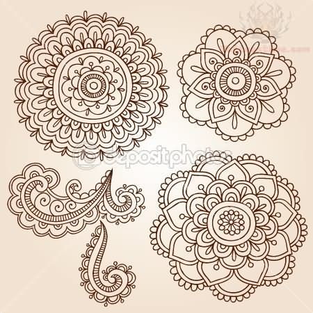 8ba726c4f376b henna designs template | Flowers Henna Paisley Pattern Tattoo Designs