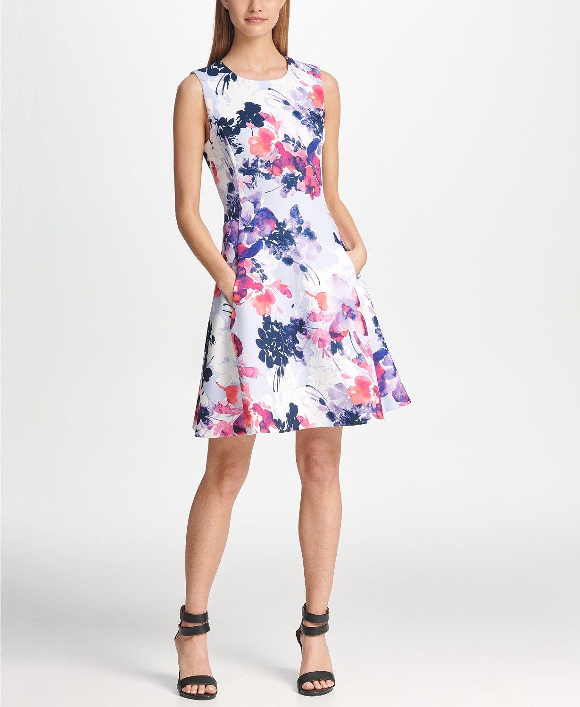 Dkny floral print scuba fit flare dress reviews